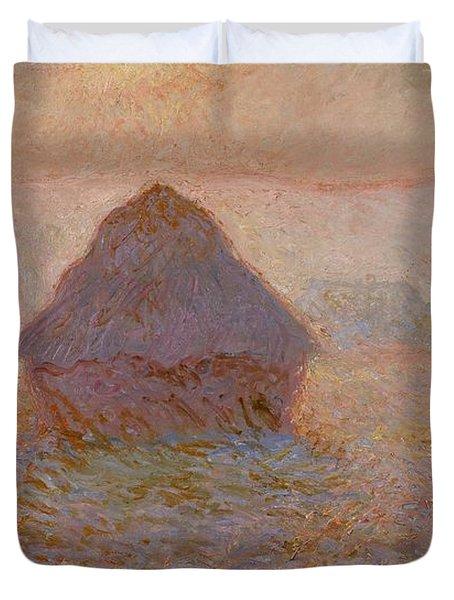 Grainstack  Sun In The Mist Duvet Cover by Claude Monet