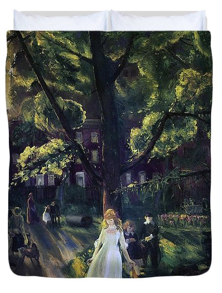 Gramercy Park Duvet Cover by George Wesley Bellows