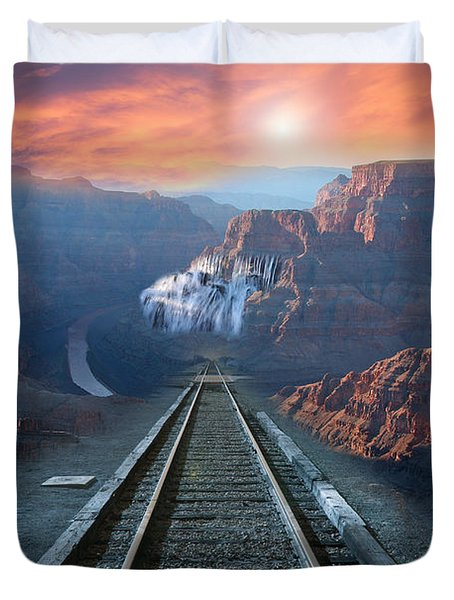 Duvet Cover featuring the photograph Grand Canyon Collage by Gunter Nezhoda