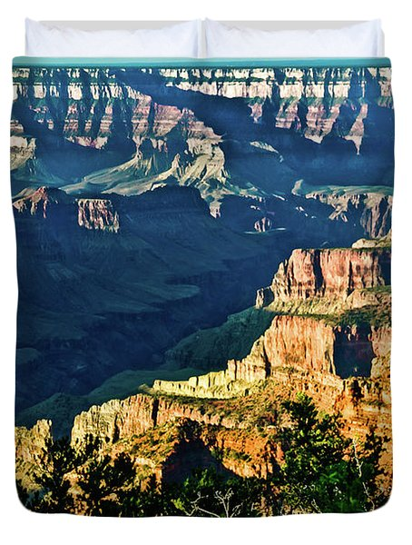 Duvet Cover featuring the photograph Grand Canyon  Golden Hour On Angel Point by Bob and Nadine Johnston