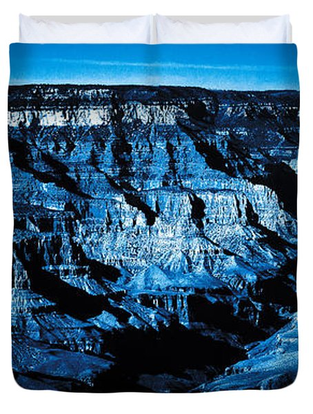 Duvet Cover featuring the digital art Grand Canyon In Blue by Bartz Johnson