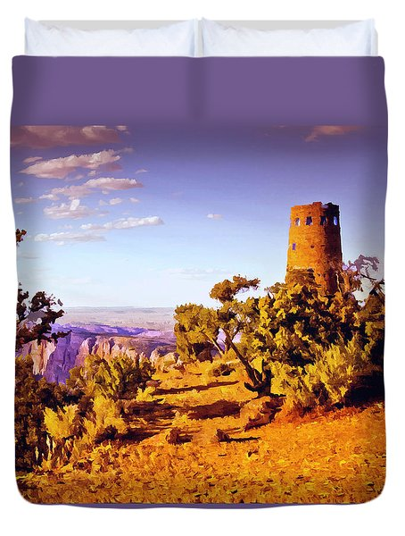 Duvet Cover featuring the painting Grand Canyon National Park Golden Hour Watchtower by Bob and Nadine Johnston
