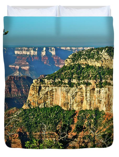 Duvet Cover featuring the photograph Grand Canyon Peak Angel Point by Bob and Nadine Johnston