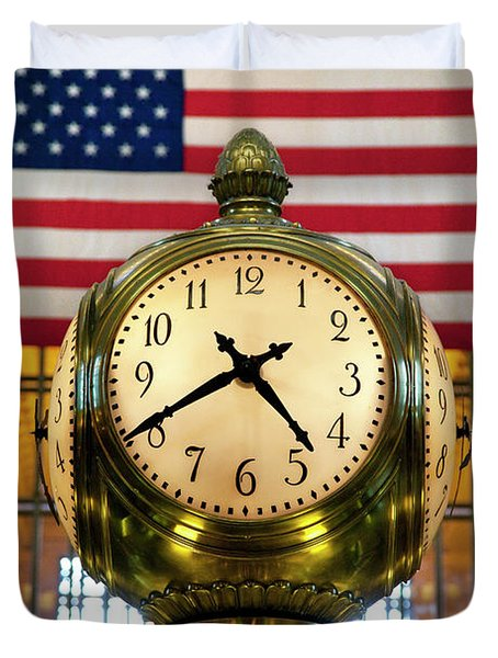 Grand Central Clock Duvet Cover by Brian Jannsen