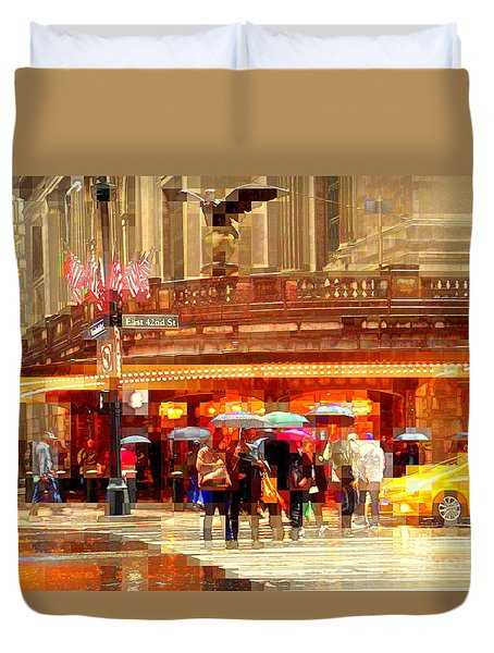 Grand Central Station In The Rain - New York Duvet Cover by Miriam Danar
