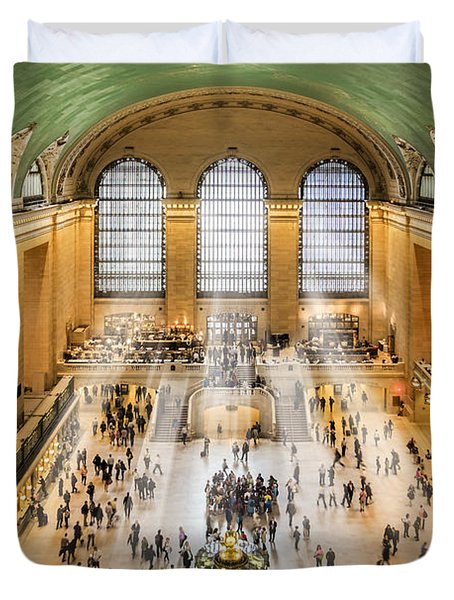 Duvet Cover featuring the photograph Grand Central Terminal Birds Eye View I by Susan Candelario