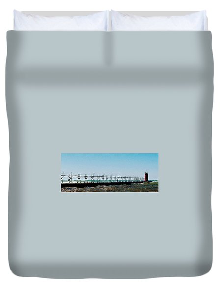 Duvet Cover featuring the photograph Grand Haven Light by Daniel Thompson