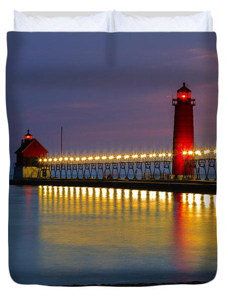 Grand Haven South Pier Lighthouse Duvet Cover