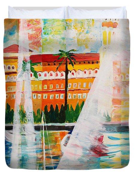 Grand Hotel  In Gardone Riviera In Sunlight Duvet Cover by M Bleichner