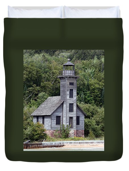 Grand Island East Channel Lighthouse Duvet Cover by George Jones