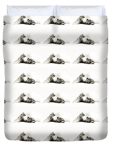 Duvet Cover featuring the photograph Grand Kitty Cuteness Bw 40 by Andee Design