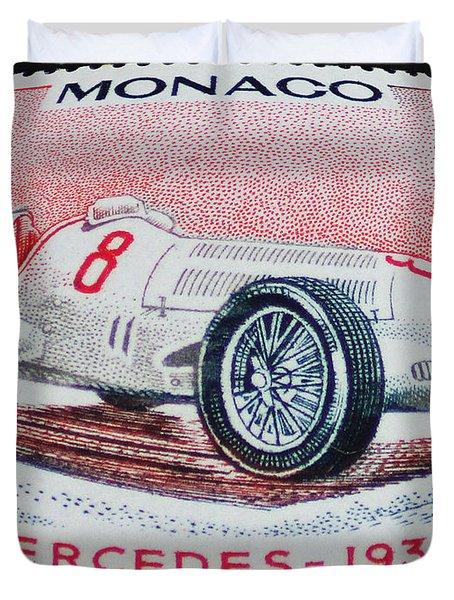 Grand Prix De Monaco 1936 Vintage Postage Stamp Print Duvet Cover by Andy Prendy