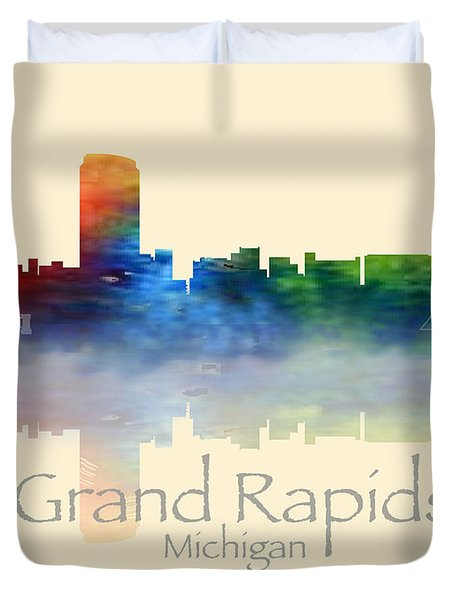 Grand Rapids Michigan Skyline Duvet Cover
