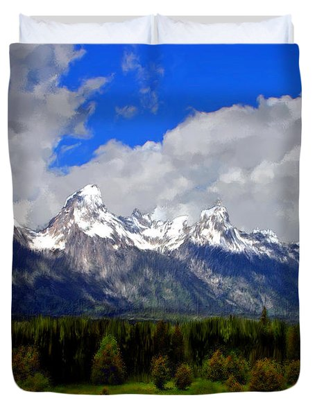 Grand Teton Mountains Duvet Cover