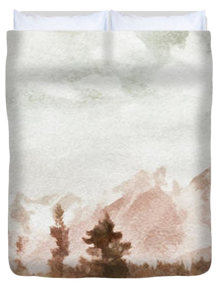 Grand Teton Mountains Duvet Cover by Greg Collins