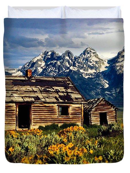 Duvet Cover featuring the photograph Grand Tetons Cabin by John Haldane