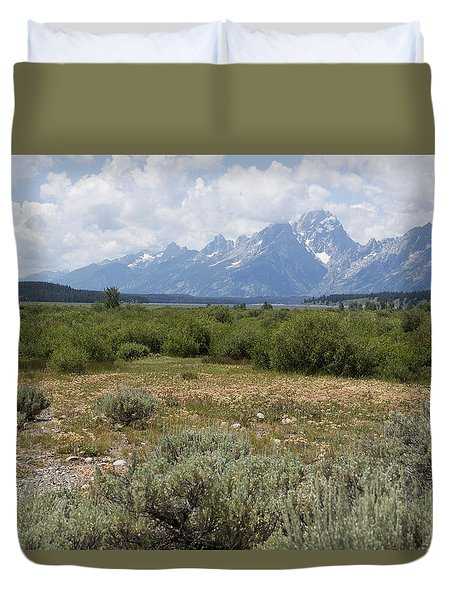 Grand Tetons From Willow Flats Duvet Cover by Belinda Greb