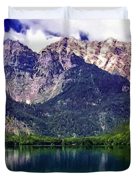 Grand Tetons National Park Painting Duvet Cover by Bob and Nadine Johnston