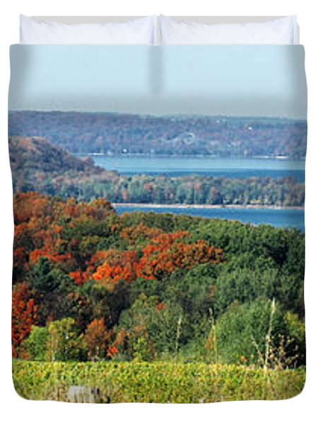 Grand Traverse Winery Lookout Duvet Cover by Optical Playground By MP Ray