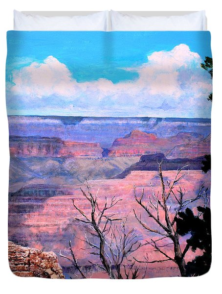 Duvet Cover featuring the painting Grand View by M Diane Bonaparte