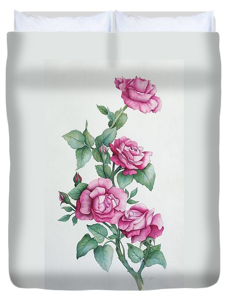 Duvet Cover featuring the painting Grandma Helen's Roses by Katherine Young-Beck