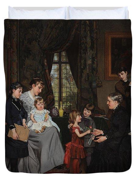 Grandmas Birthday Duvet Cover by Louis Edmond Pomey