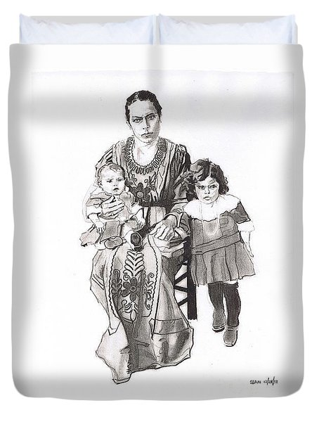 Grandma's Family Duvet Cover by Sean Connolly