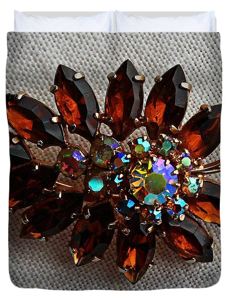 Grandmas Topaz Brooch - Treasured Heirloom Duvet Cover by Barbara Griffin