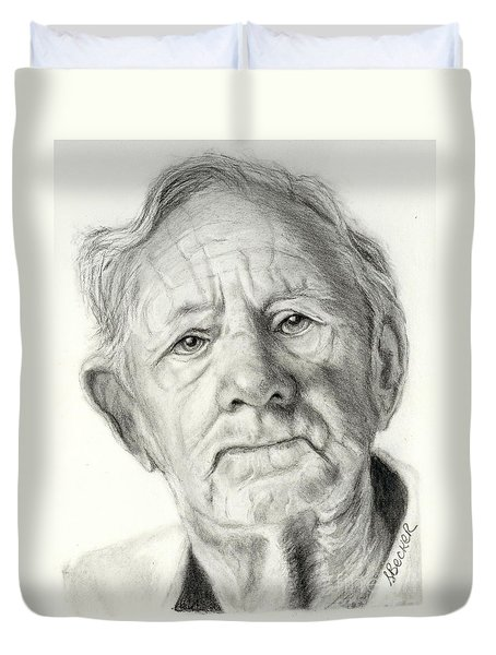 Grandpa Full Of Grace Drawing Duvet Cover