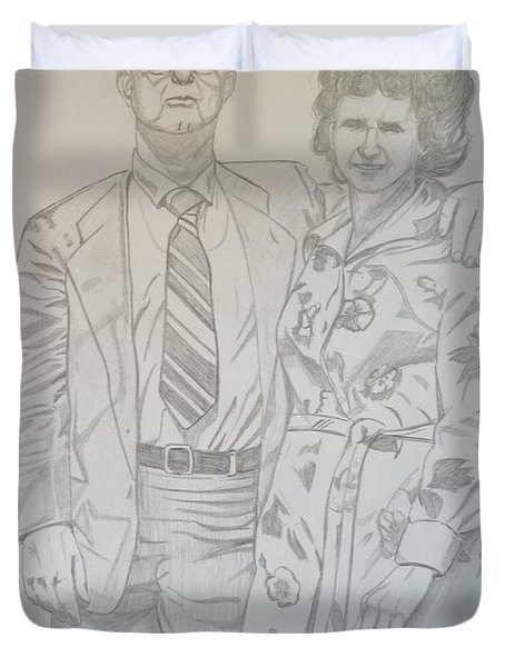 Duvet Cover featuring the drawing Grandparents Of Late 1970s by Justin Moore