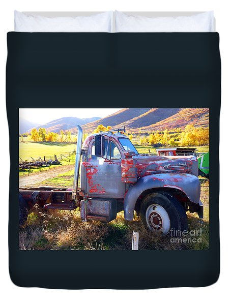 Duvet Cover featuring the photograph Grandpa's Mack Truck by Jackie Carpenter