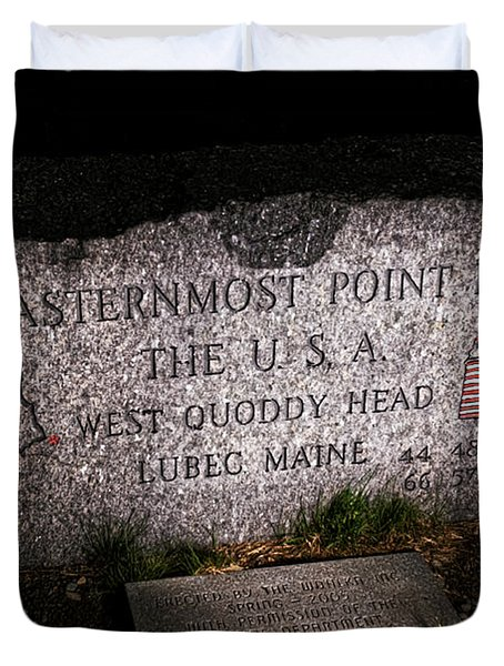 Granite Monument Quoddy Head State Park Duvet Cover by Marty Saccone