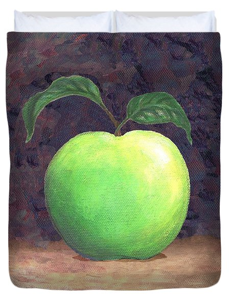 Granny Smith Apple Two Duvet Cover by Linda Mears