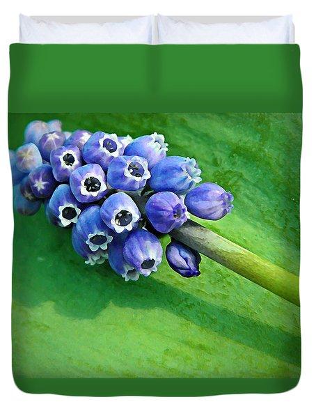 Grape Hyacinth Spike  Duvet Cover by Chris Berry