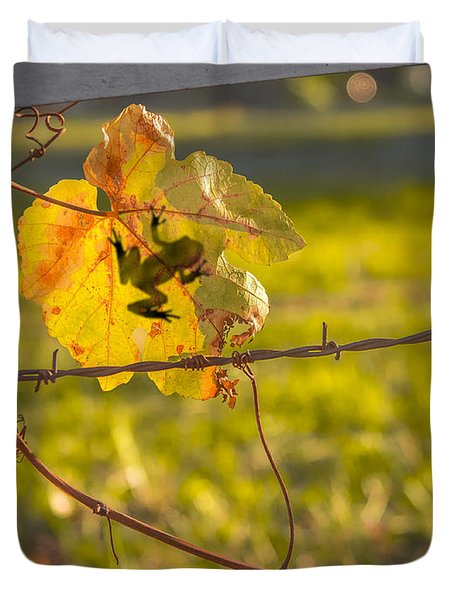 Grape Leaf Frog Duvet Cover