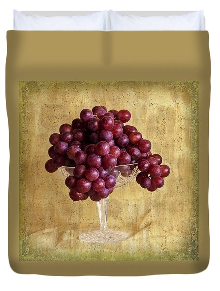 Duvet Cover featuring the photograph Grapes And Crystal Still Life by Sandra Foster