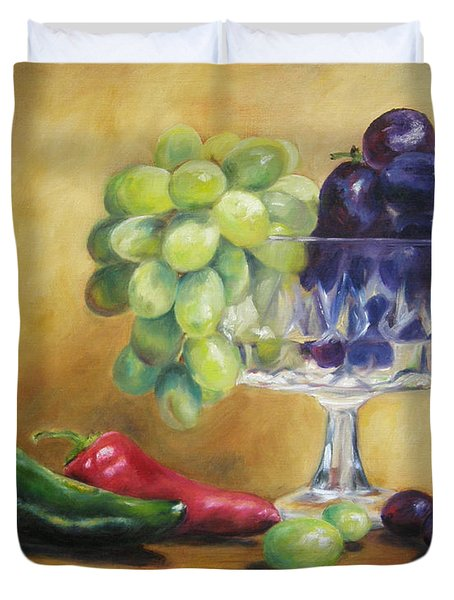 Grapes And Jalapenos Duvet Cover