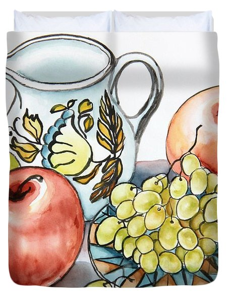 Grapes And White Pitcher Still Life Duvet Cover