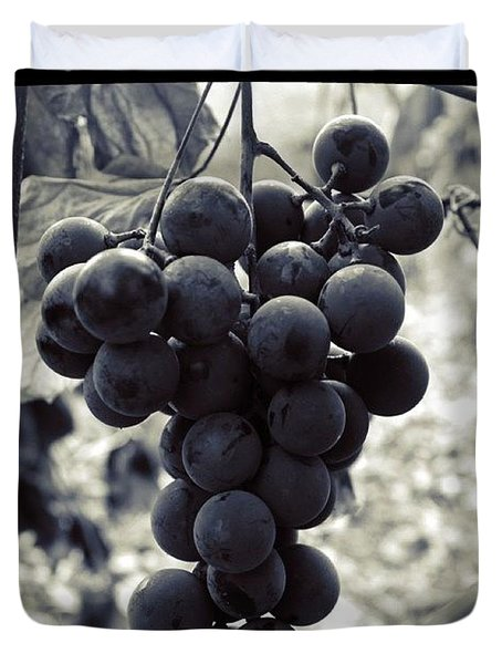 Grapes In Black And White Duvet Cover