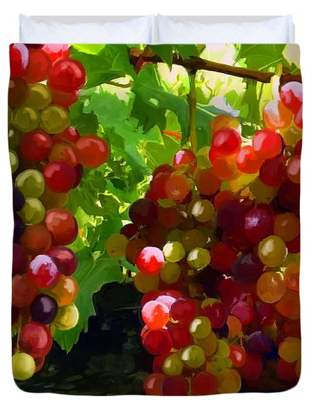 Grapes On The Vine Duvet Cover by Tim Gilliland