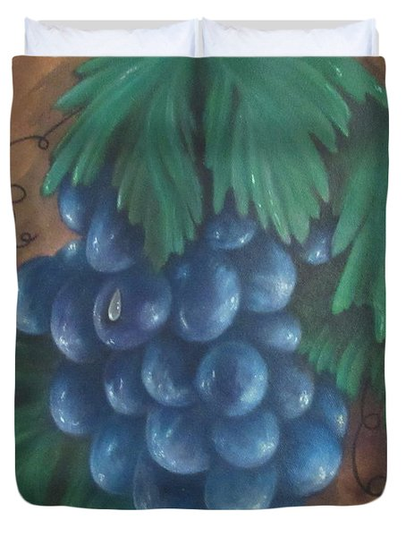 Grapes With Dewdrop Duvet Cover