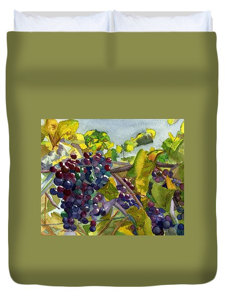 Duvet Cover featuring the painting Grapevines by Lynne Reichhart