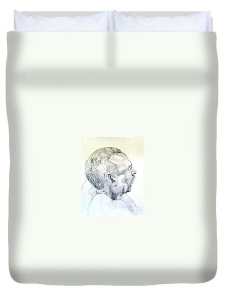 Duvet Cover featuring the drawing Graphite Portrait Sketch Of A Man In Profile by Greta Corens