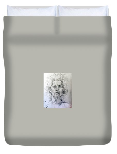 Duvet Cover featuring the drawing Graphite Portrait Sketch Of A Well Known Cross Eyed Model by Greta Corens