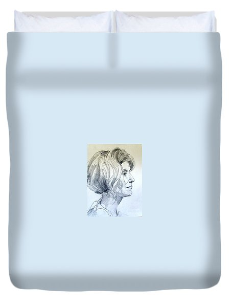 Portrait Drawing Of A Woman In Profile Duvet Cover