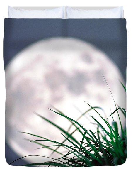 Grass Blades With Full Moon Duvet Cover