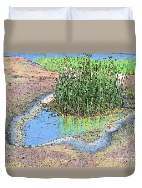 Grass Growing On Rocks Duvet Cover