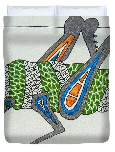 Grass Hopper I Duvet Cover by Kruti Shah