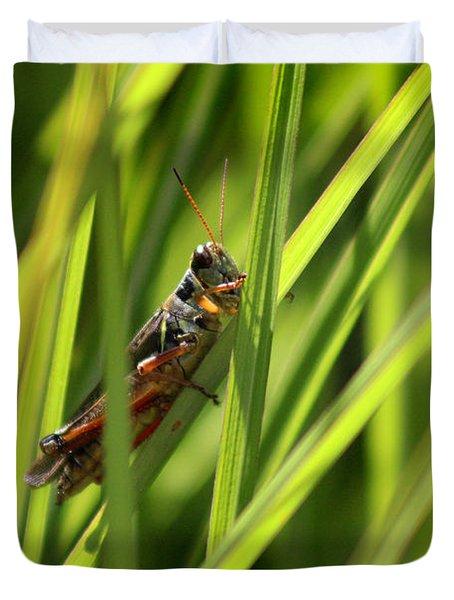 Grasshopper In Grass Duvet Cover