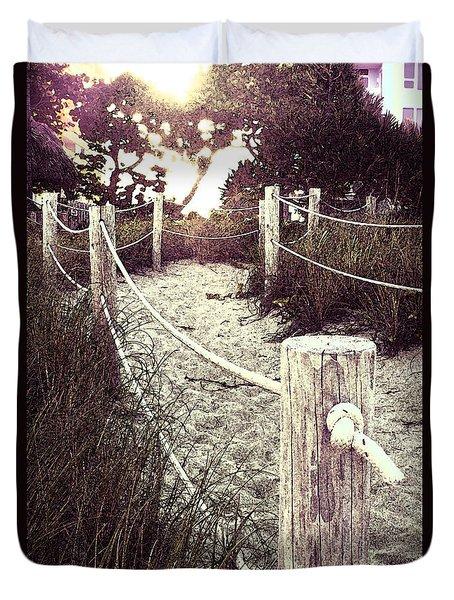 Grassy Beach Post Entrance At Sunset Duvet Cover